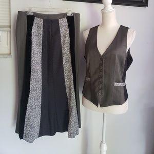 Cato black gray maxi skirt vest business velvet